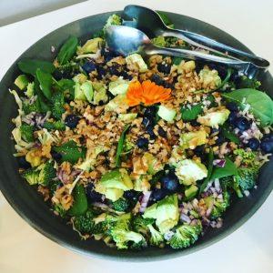 Salat med broccoli, spinat, blåbær, valnødder og avocado